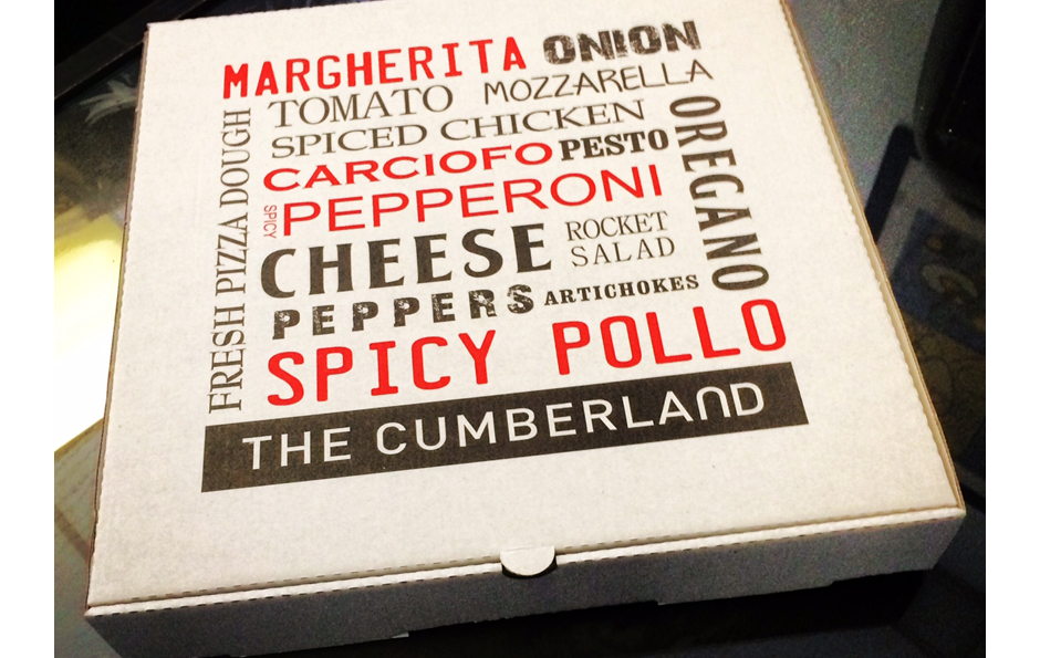 The Cumberland Hotel Pizza Boxes